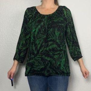 Michael Kors Plus Sz Green Palm Scoop Neck